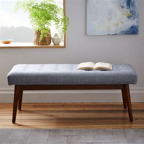 living room bench mid century upholstered bench west elm