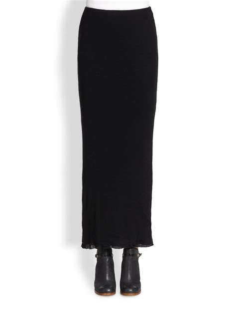 black knit maxi skirt cottoncashmere knit maxi skirt in black lyst