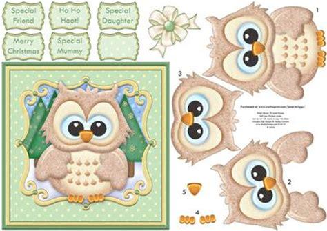 free decoupage downloads for card ho ho hoot brown owl card topper decoupage