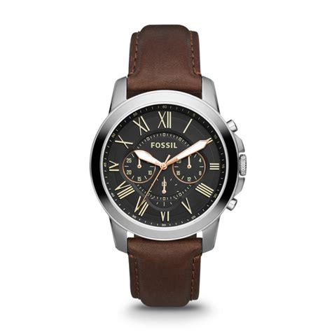brown leather watches for fossil grant chronograph leather brown fs4813 fossil 174