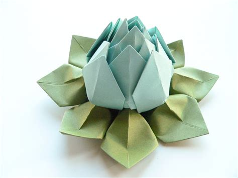 origami lotus blossom origami lotus flower in robin s egg blue and moss by