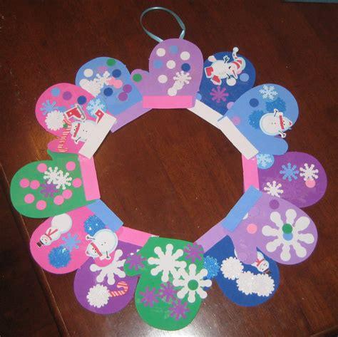 winter crafts for at school make a foam winter mitten wreath by