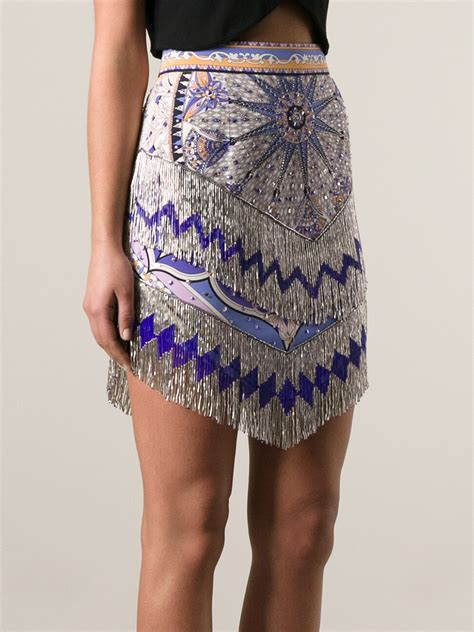 beaded skirts emilio pucci beaded fringed skirt in purple lyst