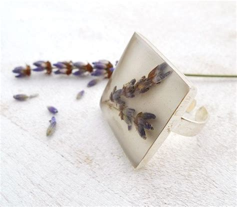 epoxy resin jewelry real flower lavender ring epoxy resin jewelry for nature
