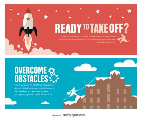 Work Office Ideas success motivational banners free vector