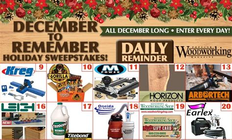 popular woodworking sweepstakes popularwoodworking december to remember sweepstakes