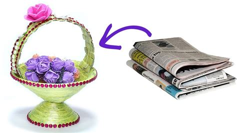 how to make waste paper craft how to make diy newspaper basket best out of waste paper