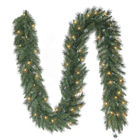 white lighted garland shop living indoor outdoor pre lit 9 ft l pine