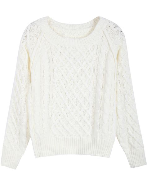 white knit sweater white sleeve patterned cable knit sweater
