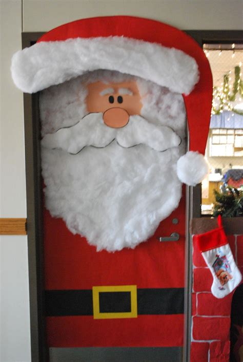 santa claus decoration decorating doors for the new year in the form of santa claus
