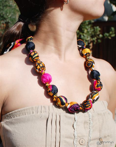 cloth bead necklace fabric covered bead necklace diy tutorial spunnys