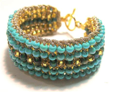 beaded cuff bracelets two in one retro seed bead knitted cuff by sereba designs