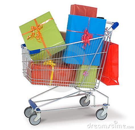 gift shopping shopping cart with gifts royalty free stock photo image