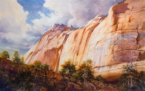 zion acrylic painting painting of kolob cliff in zion national park