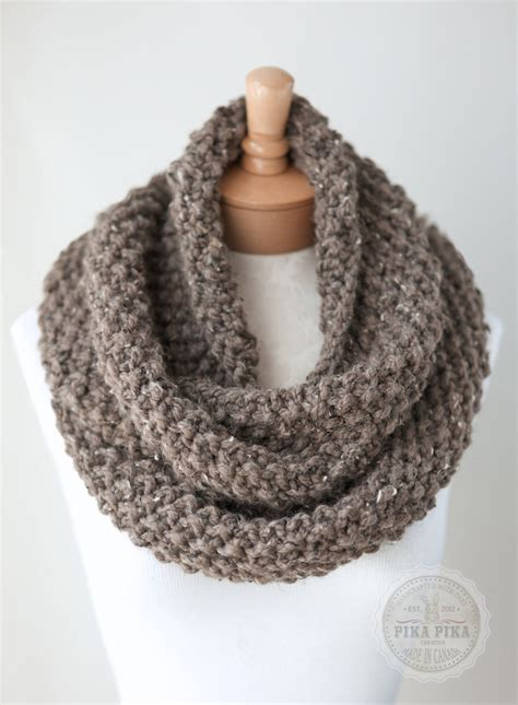 knitted scarves images knit infinity scarf chunky knit scarf in taupe by