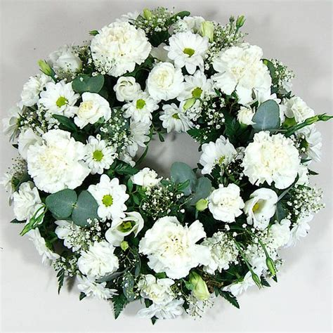 white wreaths classic open wreath in white wreathes funerals shop