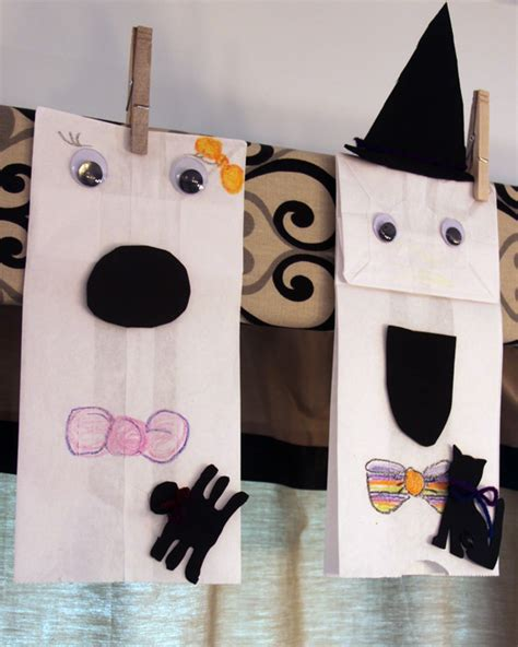 paper bag ghost craft paper bag ghosts craft a spotted pony
