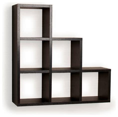 black shelves wall stepped six cubby decorative black wall shelf