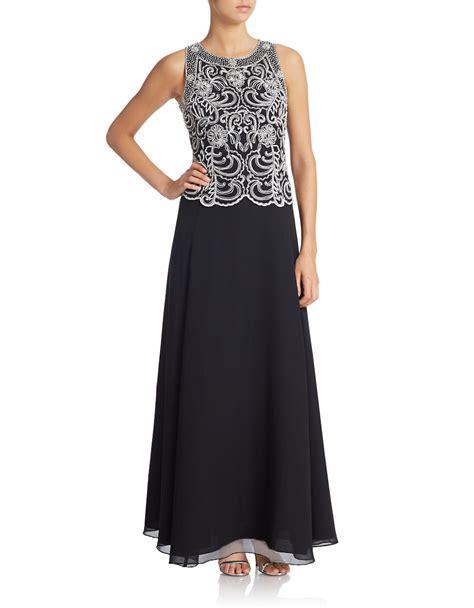 jkara beaded chiffon gown j kara beaded chiffon gown in black lyst