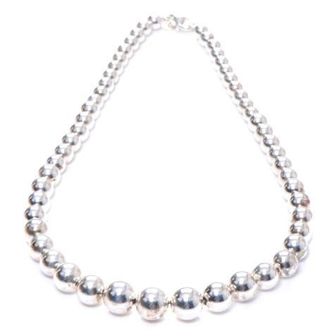 graduated silver bead necklace co sterling silver graduated bead necklace 48865