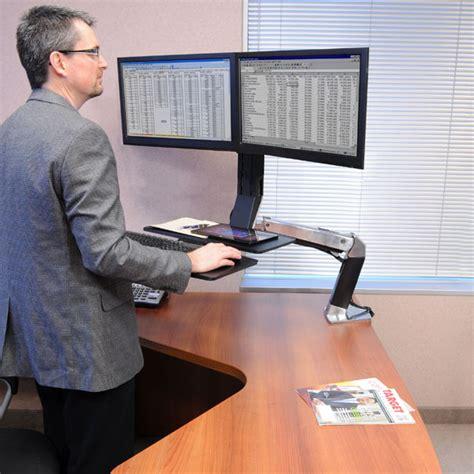 standing desk monitor mount ergotron 24 316 026 workfit a dual monitor standing desk mount