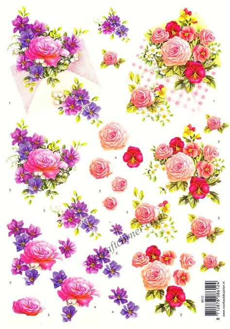 flower decoupage bouquets of pansy flowers 3d decoupage sheet