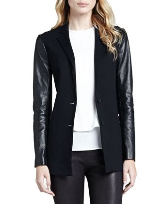 leather sleeve blazer black leather blazer theory lavey leather sleeve blazer where to buy how to wear