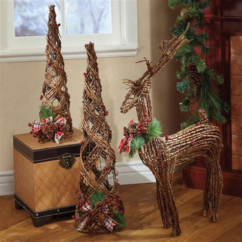 wicker reindeer decorations woodland rattan trees and reindeer all things