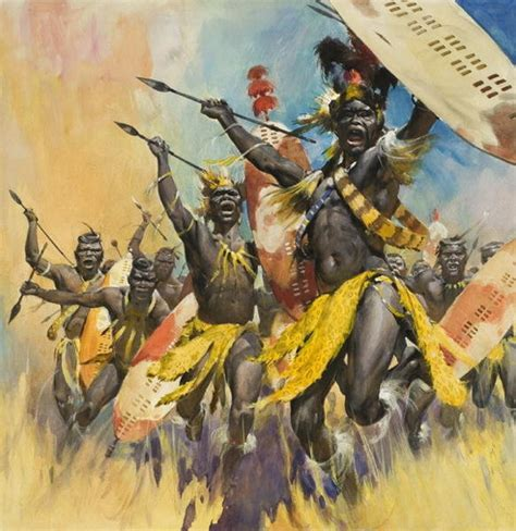zulu painting zulu warriors by edwin mcconnell all things