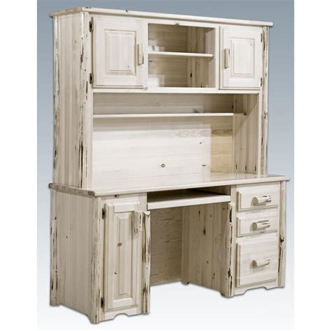 furniture white distressed wood office desk with hutch