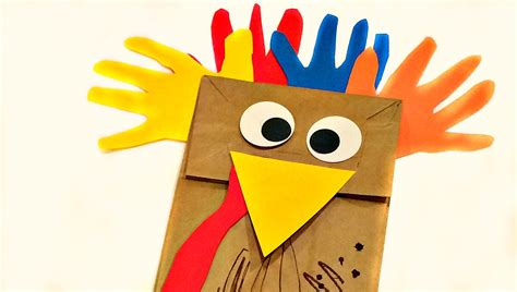 turkey paper bag craft paper bag handprint turkey puppet crafts for