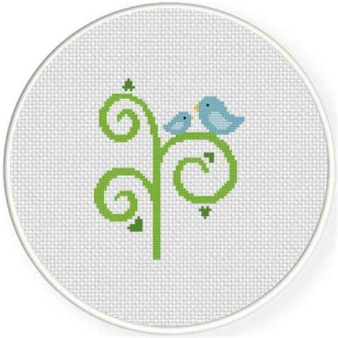 small tree pattern birds on swirly tree cross stitch pattern daily cross stitch
