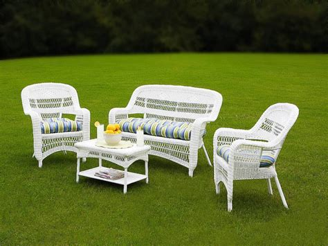 resin wicker patio furniture sets tortuga portside coastal white wicker conversation set