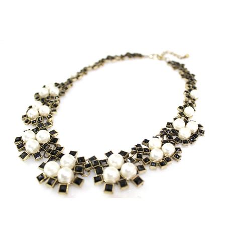 black beaded statement necklace pearl florals black enamel encrusted statement necklace