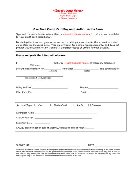 payment on credit card credit card payment authorization form template in word