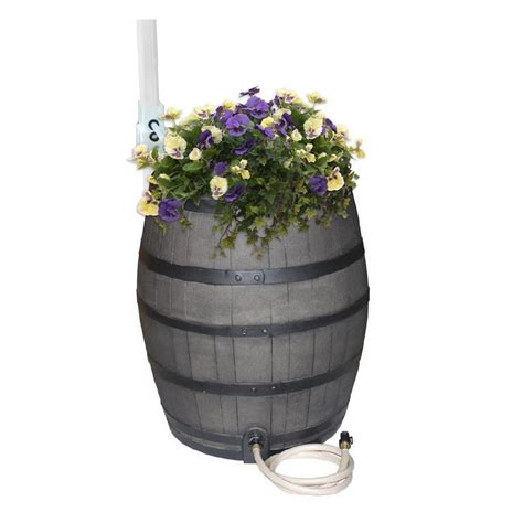 Whiskey Barrel Planter Home Depot by Rescue 50 Gal Gray Flat Back Whiskey Rain Barrel With