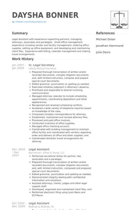 sample legal assistant resume experience resumes
