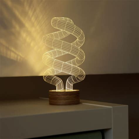 Smart Art 3d Printed Sculptures 3d optical illusion spiral bulb led lamp the green head