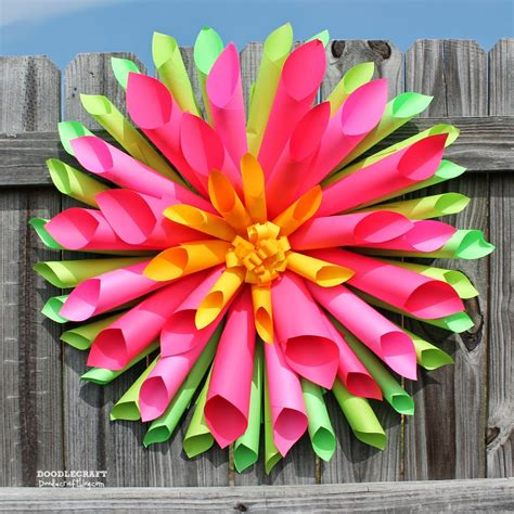 easy paper flower crafts doodlecraft dahlia wreath and astrobrights papers