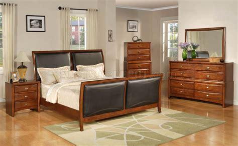 transitional bedroom furniture brown finish transitional 6pc bedroom set w bicast inserts