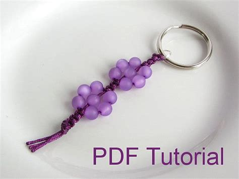 beaded keyring patterns pdf tutorial beaded flowers square knot macrame keychain