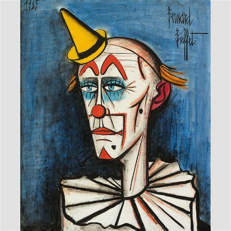 bernard buffet paintings bernard buffet clown fond 1969 galerie de souzy