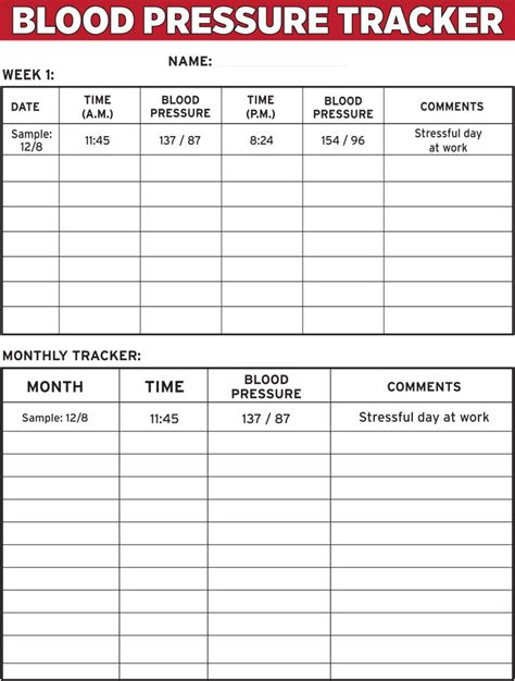 8 best images of blood pressure tracker printable chart
