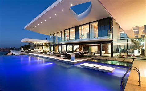 modern house with a pool wallpaper 15037