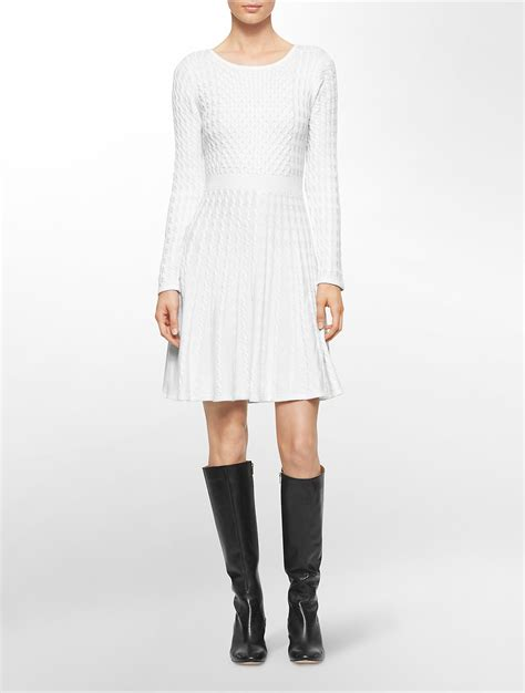 white cable knit sweater dress calvin klein white label cable knit sleee fit flare