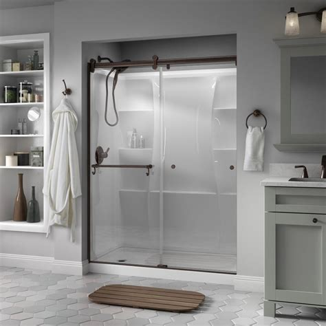 delta glass shower doors delta portman 60 in x 71 in semi frameless contemporary