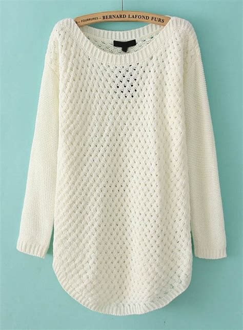 knit pullover sweater white sleeve hollow knit pullover sweater shein