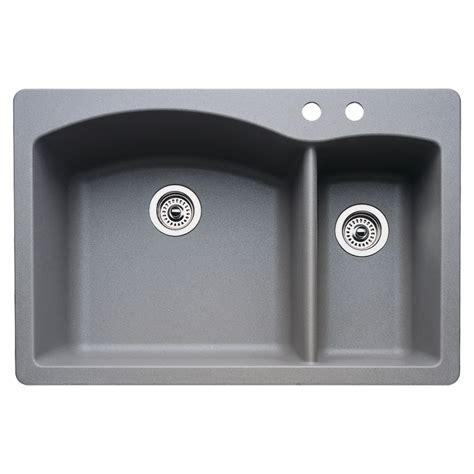 blanco granite kitchen sinks shop blanco 22 in x 33 in metallic grey