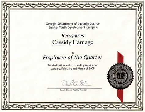 employee of the quarter my certificate