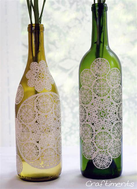decoupage bottles craftiments paper doily decoupaged bottle tutorial